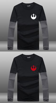 2015 Movie Star Wars: The Force Awakens Cotton Printing Pattern Rebel Alliance Starbird Logo Long Sleeve Contrast Color T-shirts