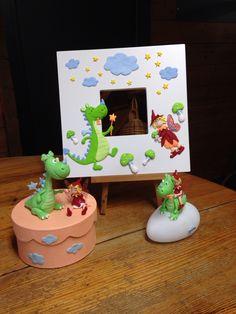 Ensemble fee et dragon en Fimo et porcelaine froide