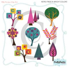 Retro Trees Clip Art in Bright Colors - For Personal and Small Commercial Use - Read Shop Banner for Great COUPON