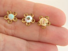 Small studs Flower earring With a Vintage by dandiallmyheart, ₪69.00