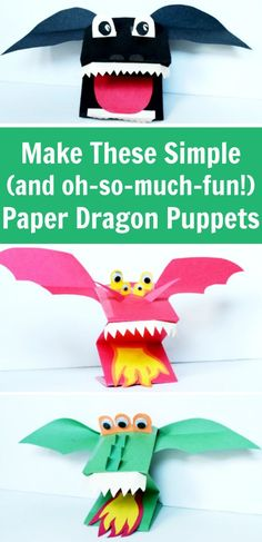 Make this fun paper puppet craft - paper dragon puppets! They're great for kids, classrooms, and rainy days.Make a quick dragon craft for Chinese New Year or to go with book learning activities! This paper dragon puppet is a really fun construction p Crafts For Boys, Paper Crafts For Kids, Preschool Crafts, Projects For Kids, Art For Kids, Children Crafts, Kid Art, Toddler Crafts, Construction Paper Projects
