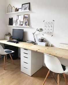 So make sure you design your home office exactly how you want from the perfect colors, . See more ideas about Desk, Home office decor and Home Office Ideas. Home Office Space, Home Office Design, Home Office Decor, Office Ideas, Home Decor, Desk Ideas, Office Set, Bedroom With Office, Double Desk Office