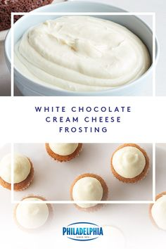 Top off any treat with this quick and delicious White Chocolate-Cream Cheese Frosting. This mouth-watering recipe combines white chocolate with rich PHILADELPHIA Cream Cheese for a creamy frosting everyone will love. Icing Recipe, Frosting Recipes, Cake Recipes, Dessert Recipes, Dessert Ideas, White Chocolate Cream Cheese Frosting Recipe, Cream Cheese Recipes, Chocolate Icing, Cupcakes