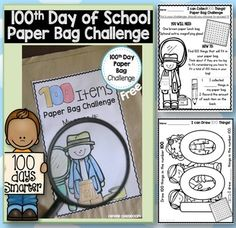 100th Day of School Paper Bag Challenge free file  100th day of school is on it's way.   This is your challenge, should you choose to accept it!  These pages are also found in our: 100th Day of School Printables Which is full of math printables for the 100th day of school.