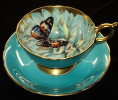 Aynsley Athens BUTTERFLY AQUA Tea cup and saucer