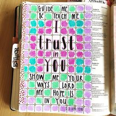 "Psalm 25. ""In you Lord my God I put my trust"" Just wanted to show that journaling doesn't need to be that fancy. All I did here was rip out a page from a colouring book and write over the top. Really simple really easy. You don't need to be arty to journal! #psalm25 #pfbblog #biblejournaling #trust #colouryourbible by paperfruitbowl"