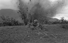 Unaware of incoming enemy round, a South Vietnamese photographer made this picture of a South Vietnamese trooper dug in at Hai Van, South of Hue, Nov. 20, 1972. The camera caught the subsequent explosion before the soldier had time to react. The incident occurred during one of many continuing small scale fire fights in South Vietnam, despite talk of a forthcoming ceasefire.