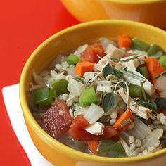 Chicken Soup with Lentils and Barley - Get ready to be bowled over. These seven filling and delicious soups and stews will satisfy your fall cravings -- without the fat and calories.