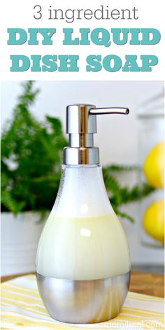 You can control what's in your dish liquid by making your own DIY Dish Soap with only 3 ingredients, and never buy store bought dish soap again! Homemade Cleaning Products, Cleaning Recipes, Soap Recipes, Natural Cleaning Products, Cleaning Hacks, Oven Cleaning, Cleaning Solutions, Homemade Dish Soap, Cleaners Homemade