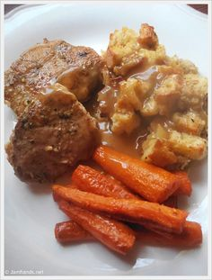 Jam Hands: Pork Chops with Gravy and Apple Pecan Cornbread Dressing.  Substitute the bacon with chicken and this may be a new Thanksgiving dish.