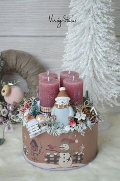 Christmas Advent Wreath, Christmas Giveaways, Christmas Labels, Christmas Gift Box, Noel Christmas, Christmas Candles, Winter Christmas, Christmas Crafts, Advent Wreaths
