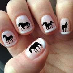 60 DECALS Black HORSE SILHOUETTES - Nail Wraps Nail Art Water Slide Transfers Not Stickers or Vinyl