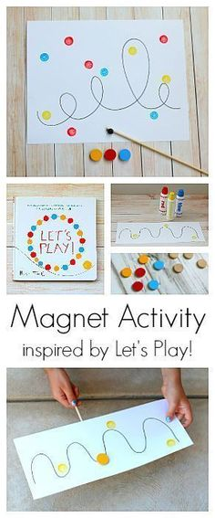 Magnet Activity for Kids inspired by the popular children's book, Let's Play, by Herve Tullet! Kids can explore the science of magnetism while creating art and working on fine motor skills! Perfect for kindergarten and preschool! ~ http://BuggyandBuddy.com