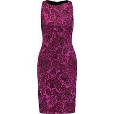 Badgley Mischka Mesh-paneled jacquard dress (427 980 LBP) ❤ liked on Polyvore featuring dresses, magenta, jacquard dress, floral flare dress, purple floral dress, floral print dress and flare dress