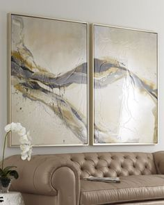 """Ascent"" Giclees      Handcrafted giclees feature a swath of gray, gold, and ivory overlaid with textural details.  Wood frames.  Sold as a set of two; each, 41.5""W x 2""D x 54.75""T.  Made in the USA.  $1400"