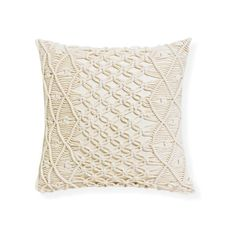 Rapee Sonny Macrame 45cm Cushion Natural ($43) ❤ liked on Polyvore featuring home and home decor