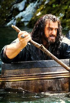 Thorin...... pissed off that he has to ride in a barrel. lol