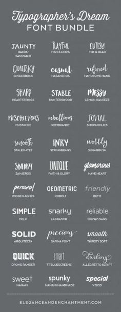 A typographer's dream font collection. 33 Fabulous Fonts for graphic design projects, web design, blogging, crafting, weddings, DIY projects and more. Includes script fonts, sans serif, serif, handwritten and calligraphy. by briana