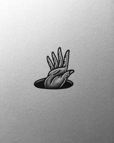 by @nathanyoder flash tattoo illustration hand hole black and white stipple shading