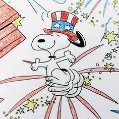 Rockets red glare! Snoopy and the Peanuts gang celebrates American Independence with fireworks and flags. Watch me bring this page from the Peanuts Adult Coloring Book to life, plus find out how to buy at CollectPeanuts.com.
