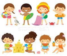 Kids at the beach clipart set vector illustration by ayelet keshet (ayelet_keshet) - Stockfresh Enjoy Summer, Summer Kids, Summer Beach, Strand Clipart, Stock Image Websites, Beach Clipart, Cute Illustration, Cute Kids, Cool Photos