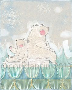 polar bears- watercolor painting - children's art - - illustration - 8 x 10 inches - archival, limited edition print by cori dantini
