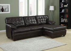 Brooks Sectional Sofa 9739Relaxation is serious business. Serious comfort is what the Brooks Collection offers in this substantially sized upholstered seating group. Channel-tufted, bonded leather covers the pillow arms, overstuffed cushions and is offered in a rich dark brown. The unique feature of this collection is the wide chaise that extends from the sectional sofa. The coordinating ottoman tucks neatly into the face of the sofa, effectively extending your lounging…