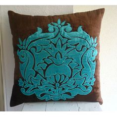 Applique Damask  - Throw Pillow Covers - 20x20 Inches Velvet Pillow Cover. $41.90, via Etsy.