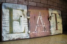 Distressed Eat sign How Too Great post by Donna on how to make old, rustic signs over at Funky Junk Interiors. Funky Junk Interiors, Barn Wood Projects, Diy Projects, Woodworking Projects, Diy Tableau, Crafts To Make, Diy Crafts, Garden Crafts, Decor Crafts