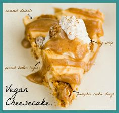 Peanut Butter Caramel Cheesecake. Pumpkin Cookie Dough Studded. Vegan. No-Bake.