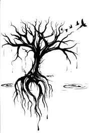 Tree with roots and birds