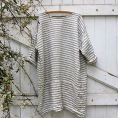 Gestreept linnen strand jurk van MegbyDesign op Etsy