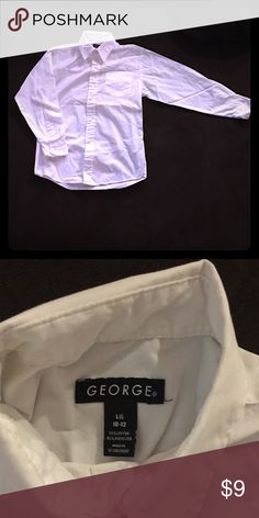 Youth long sleeved collared shirt This white LS button down shirt is universal and can go with any event, occasion, or outfit you are trying to create! 55$ cotton / 45% polyester George Tops Button Down Shirts