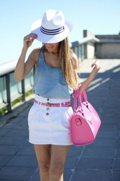 Chambray tank + white skirt + pink accesories