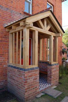Front Porch Pergola, Brick Porch, Front Door Porch, Front Porch Design, Side Porch, Front Porch Addition, Front Doors, House With Porch, House Front