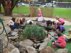 Austin Green School: Rock pit- can use as water area.  like the plants growing in the middle