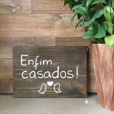Placa painel retangular pequena de madeira para casamentos e festas. Ideal para…