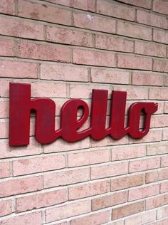 hello wooden word sign large wooden sign handmade by GrowthRing