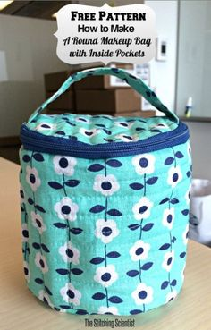 Stitching Scientist's PDF Sewing Pattern for a Round Makeup Bag with Interior Pockets