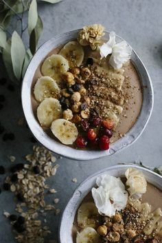 This Tahini Espresso Smoothie Bowl is made with banana, cacao, tahini, and espresso powder and is a tasty afternoon snack and pick-me-up.