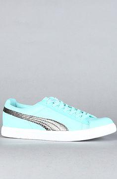 384c6382655d32 The Puma Clyde X UNDFTD Snakeskin Sneaker in Aruba Blue by Puma Blue Pumas