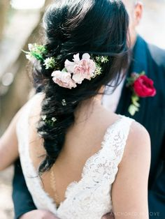 Wedding Hair Flowers | Carnations | Garden Rose Boutonniere | Romeo and Juliet Fake Wedding | Wedding Dress | Long Braided Hair | Downtown Wedding | River Room | Wilmington NC | DIY Weddings Magazine Feature | Anchored In Love Photography | Desi's Floral Design