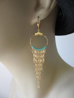 Hoop Chain Earrings Aqua by pattimacs on Etsy, $11.50
