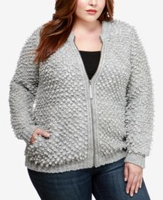 Lucky Brand Trendy Plus Size Bomber Sweater Jacket - Gray Cardigan Fashion, Sweater Outfits, Sweater Jacket, Bomber Jacket, Printed Denim, Jackets Online, Gray Jacket, Trendy Plus Size, Plus Size Outfits