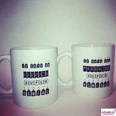 mug marraine super géniale et mug parrain , au top pour les baptêmes !