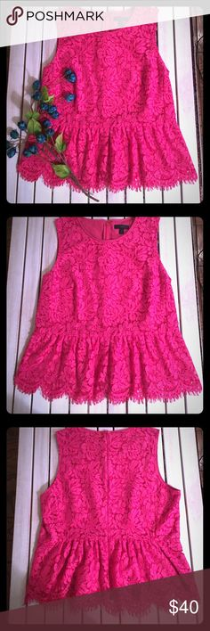 """***NEW*** J. Crew Lace Peplum Blouse. Absolutely stunning pink blouse, gently used, in excellent condition. 23"""" long, 17"""" at widest point. J. Crew Tops Blouses"""