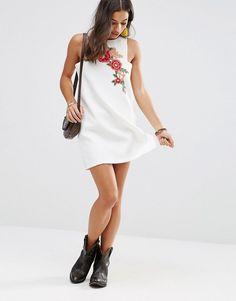 Boohoo Petite Embroidered Mini Shift Dress