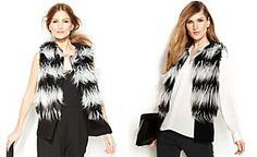 Vince Camuto Striped Faux-Fur Vest | Macy's