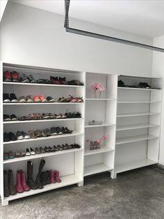 Shoe storage in garage #GarageRemodeling
