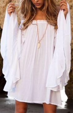 Stylish White Slash Neck Flare Sleeve White Women's Dress #Stylish #White #Summer #Dress